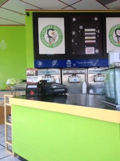 View of the Counter top and Fro- Yo Machines