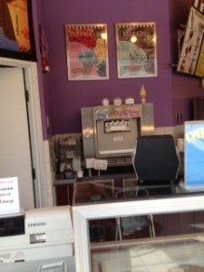 """over the counter"" look at the fro-yo machine"